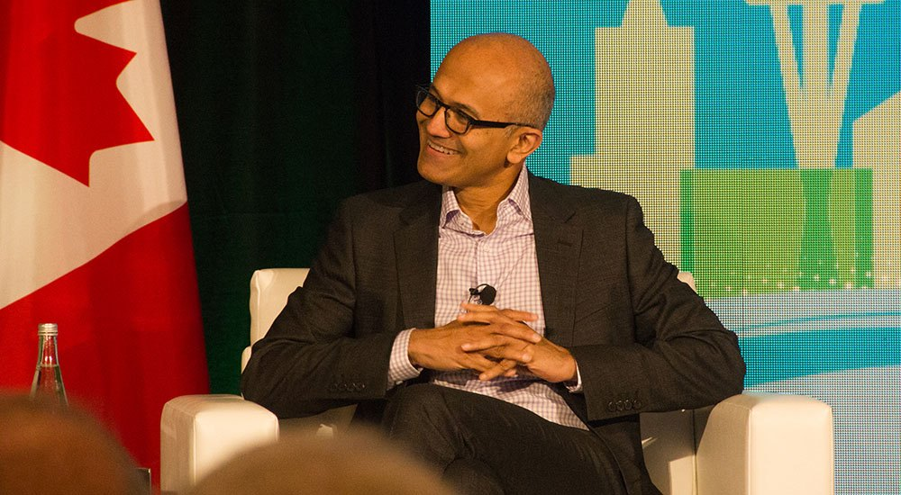 Satya Nadella at the Cascadia Conference in Vancouver (Jenni Sheppard/DailyHive)