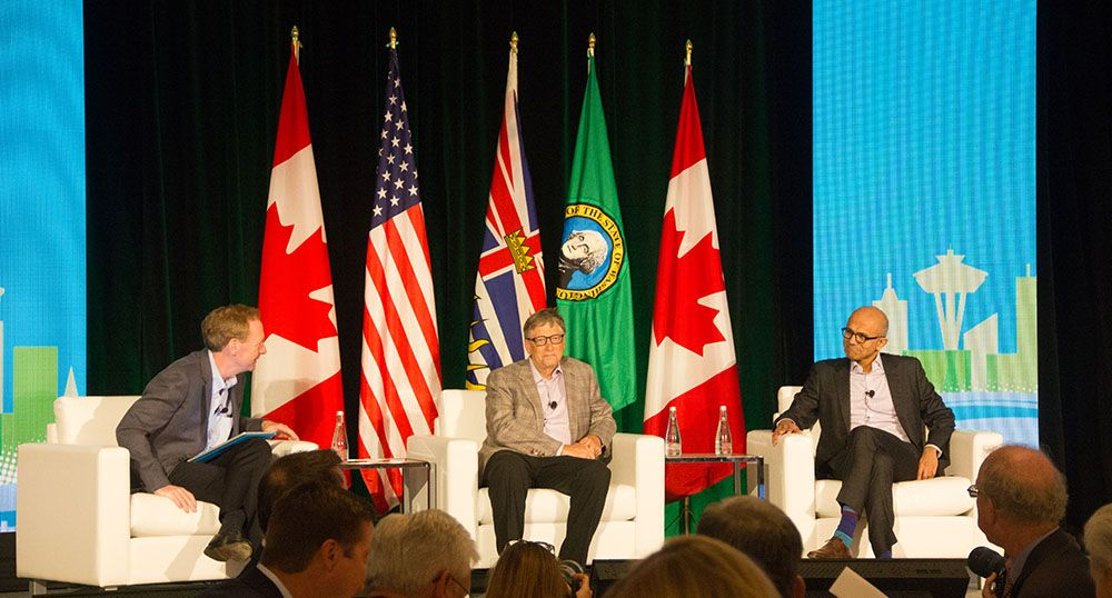 Bill Gates and Satya Nadella at the Cascadia Conference in Vancouver (Jenni Sheppard/DailyHive)