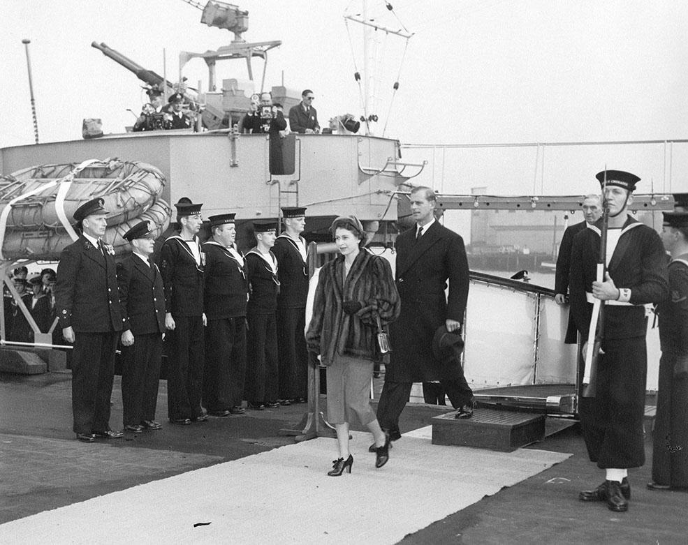 Princess Elizabeth, Duchess of Edinburgh and the Duke of Edinburgh, embarking HMCS Crusader in Vancouver for Victoria. (City of Vancouver)