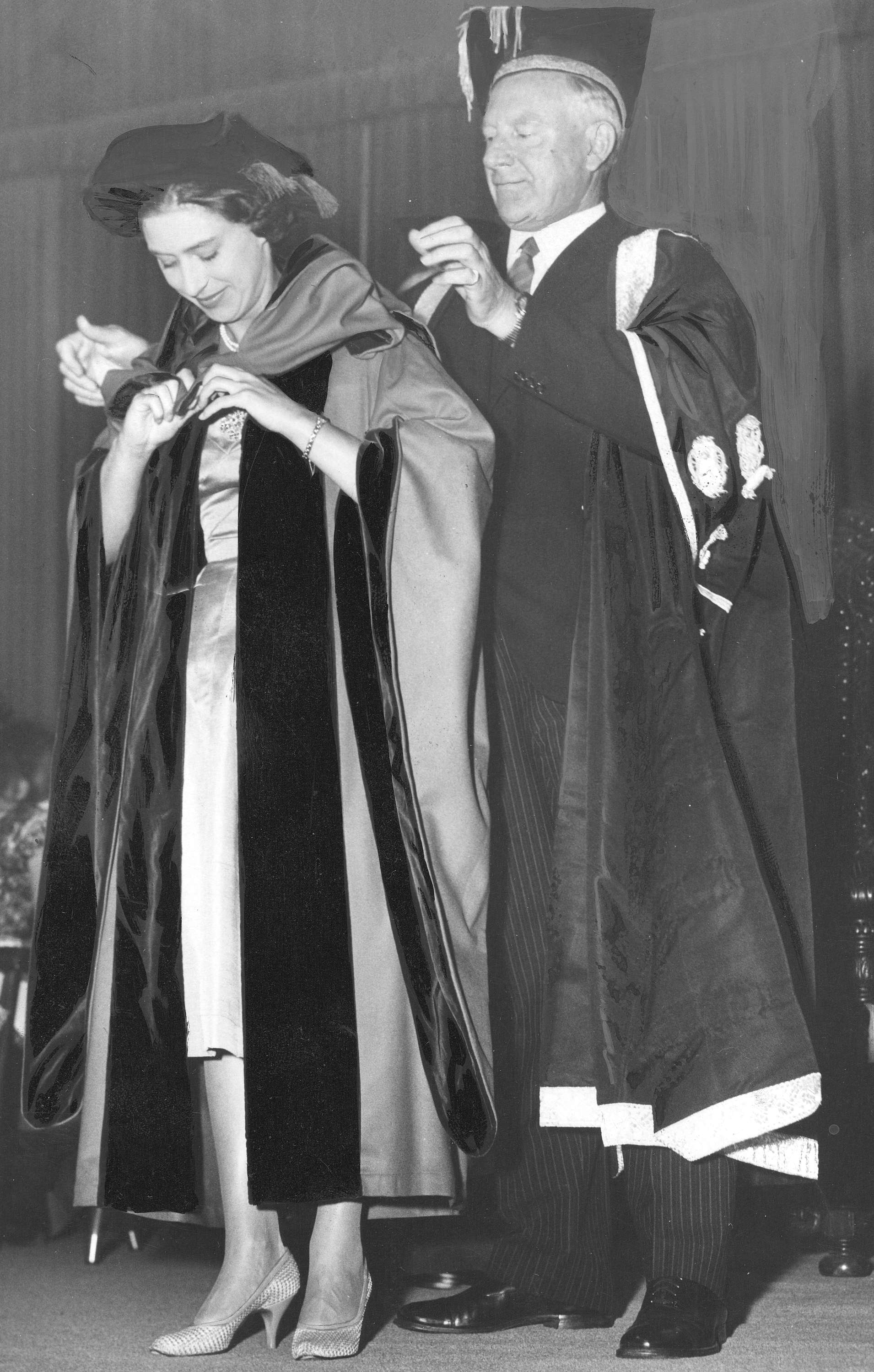 Princess Margaret receiving an honorary Doctorate of Laws from President N.A.M. MacKenzie at UBC in 1958 (Public domain)