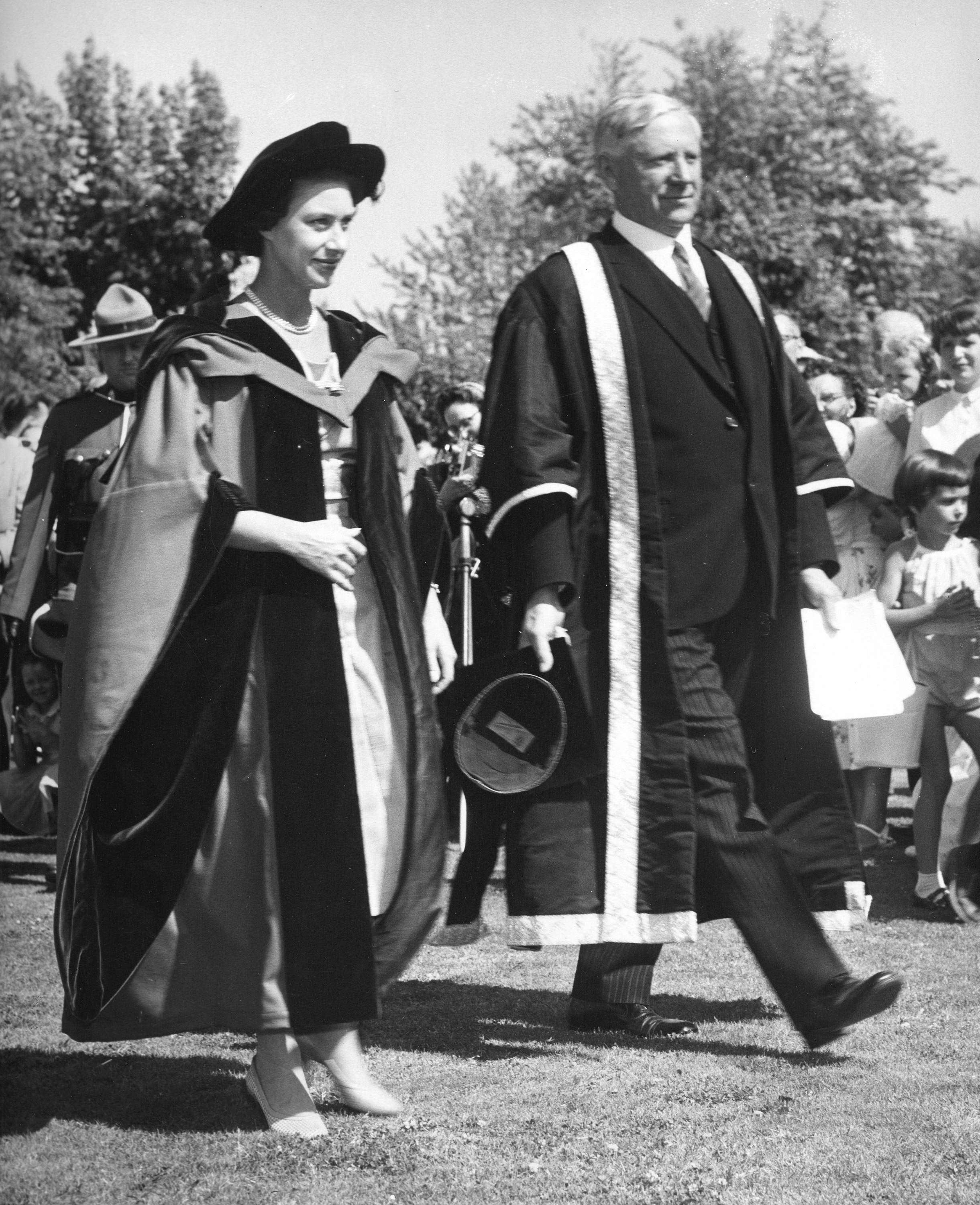 Princess Margaret after receiving an honorary Doctorate of Laws from President N.A.M. MacKenzie at UBC in 1958 (Public domain)