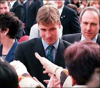 Prince William greets well-wishers as he arrives for a visit to Burnaby South Secondary School in Canada in 1998 (Royal Family/Facebook)