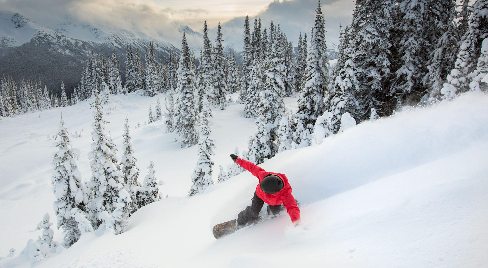 A snowboarder at whistler blackcomb mitch winton coast mountain photography