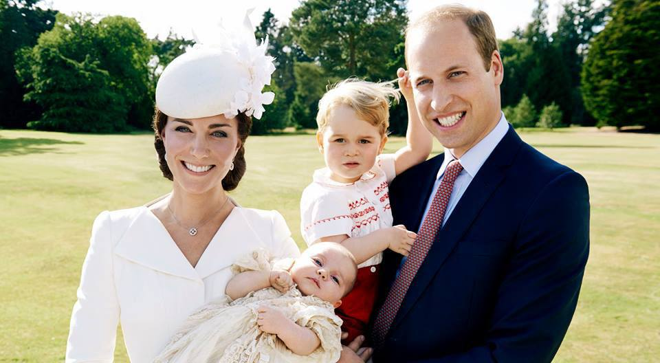 Catherine duchess of cambridge holds princess charlotte while prince william holds prince george the royal family facebook