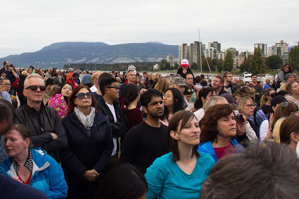 Disappointed royal fans at waiting outside Kitsilano Coast Guard Station (Jenni Sheppard/Daily Hive)