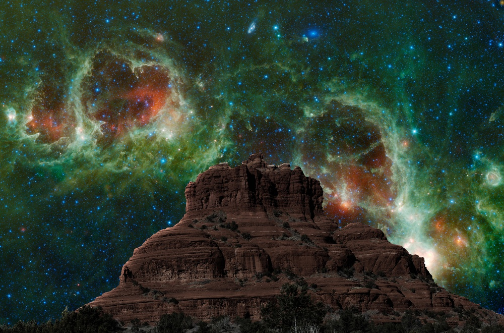 The starry skies above Bell Rock near Sedona (cpaulfell/Shutterstock)