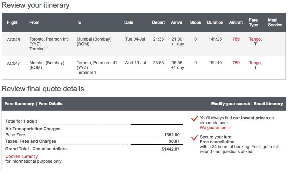 Air Canada Toronto Mumbai