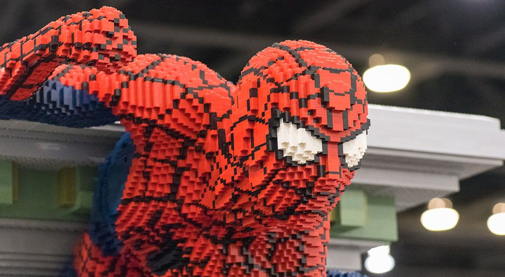 Spiderman closeup at the lego imagine nation tour in vancouver justin siu