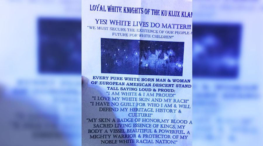 Abbotsford residents rally against recent distribution of racist KKK literature