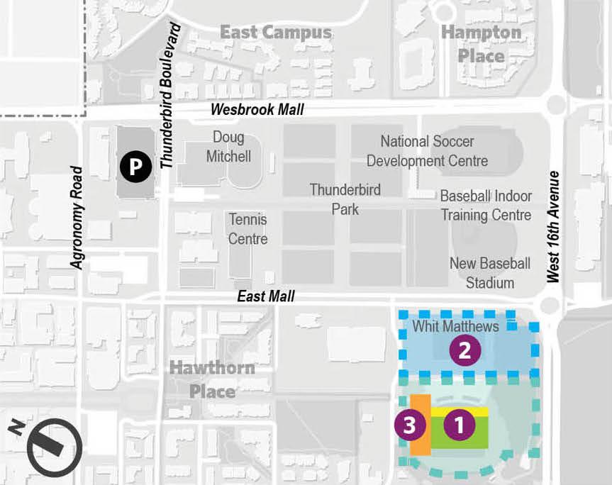 1. Existing Thunderbird Stadium. 2. Future Stadium Neighbourhood. 3. New Athletics Centre of Excellence (Image: UBC)