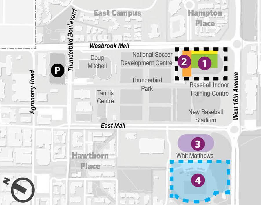 1. New Thunderbird Stadium 2. New Athletics Centre of Excellence 3. Rebuilt track and field oval 4. New Stadium Neighbourhood (Image: UBC)