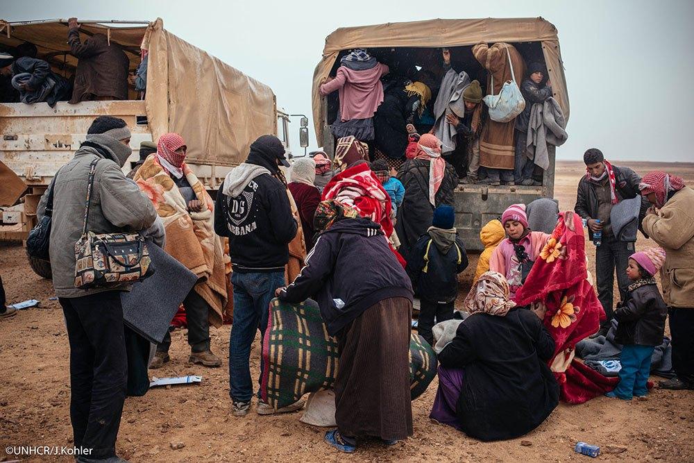 A delegation of diplomats visits the Jordan/Syrian Hadalat border crossing on February 3, 2014. (UNHCR/Jared Kohler)