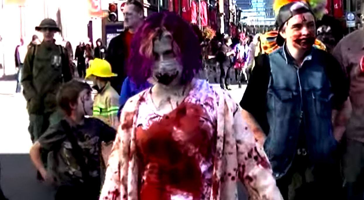 Zombies at the calgary zombiewalk 2015 youtube