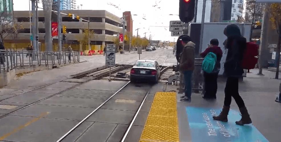 Calgary train tracks driver