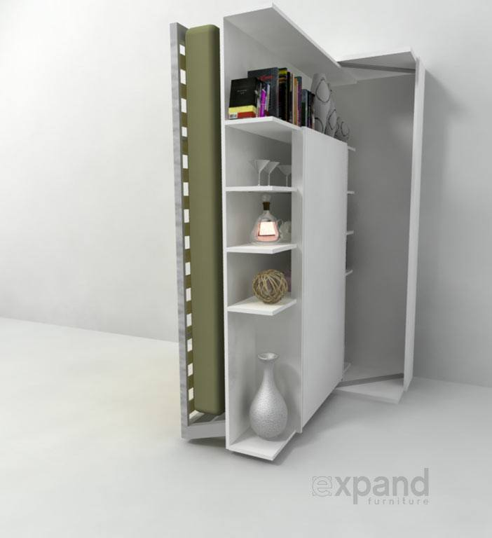 Italian wall bed %e2%80%93 revolving bookcase expand furniture