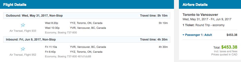 Toronto Vancouver flights