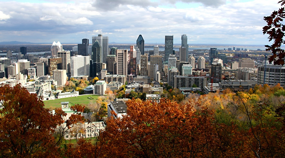Montreal Skyline Mont Royal Fall