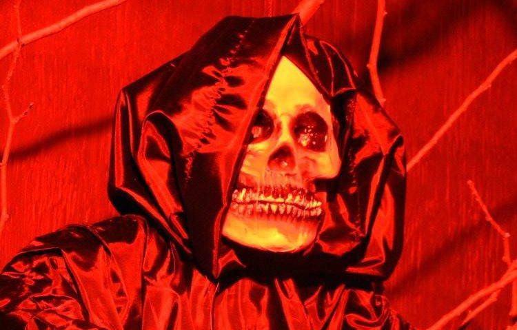 A scary Halloween skeleton aboard the Scream Train in Bear Creek Park (Bear Creek Park Train & Mini Golf/Facebook)