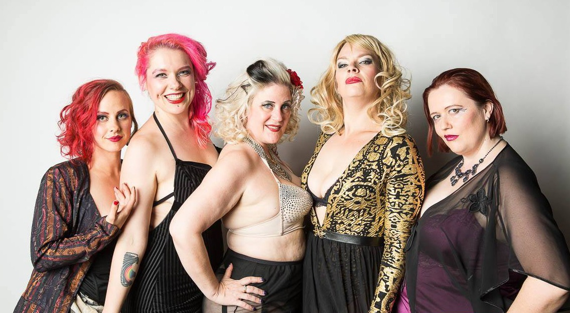 Five members of the Damask Burlesk troupe, from left to right, Rosie Thornbush, Malvina MasVino, Diamond Minx, Racy Cake, and Precious Metal (Damask Burlesk/Facebook)