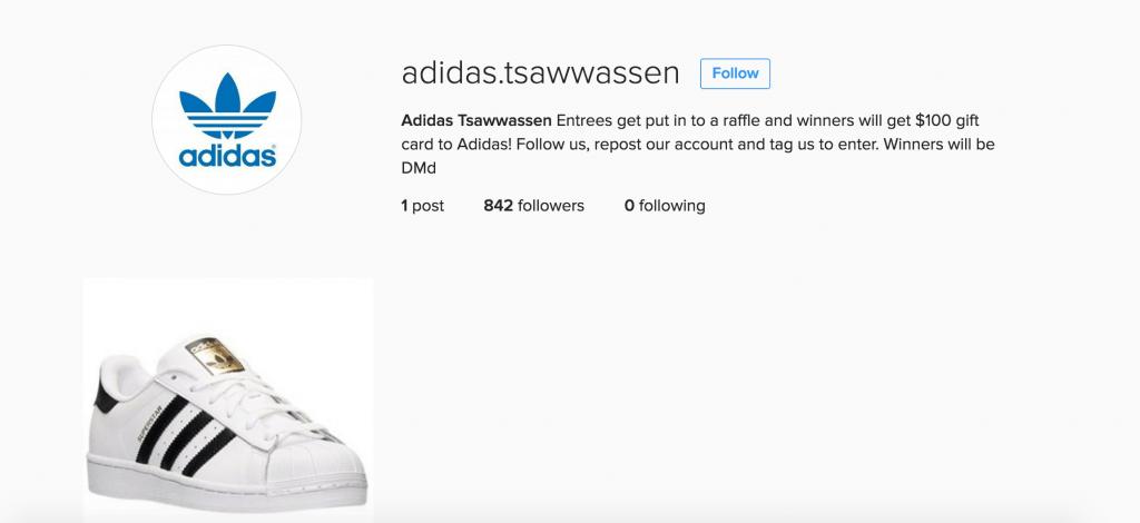 Tsawwassen Mills fake Instagram 4