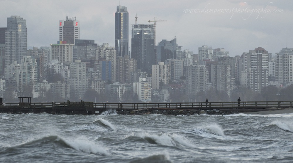 Vancouver skyline storm waves wind weather