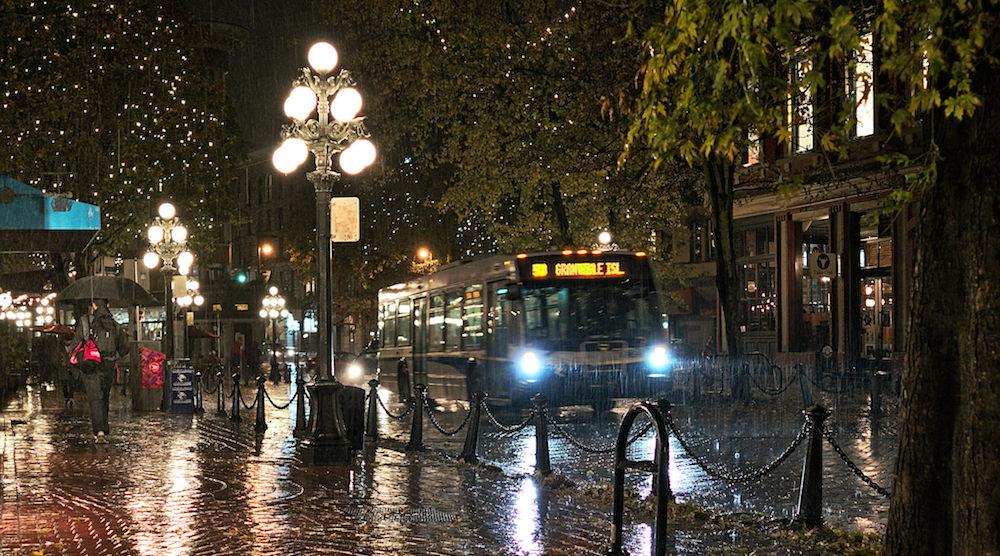Vancouver rain storm gastown