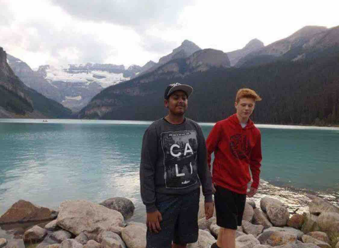 Shakir Salaam on vacation in Lake Louise, with his best friend Jacob two years ago (GoFundMe)