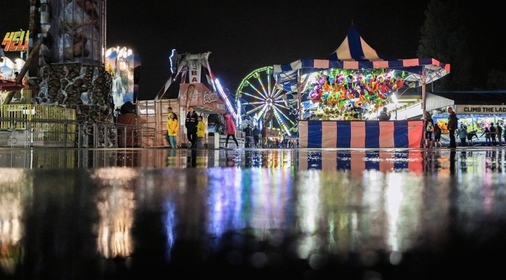 Fair at the pne rain weather storm playland