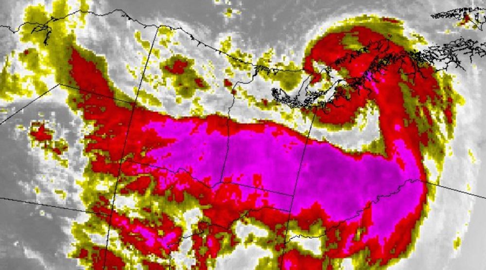 Songda storm soars over BC coast like a dragon