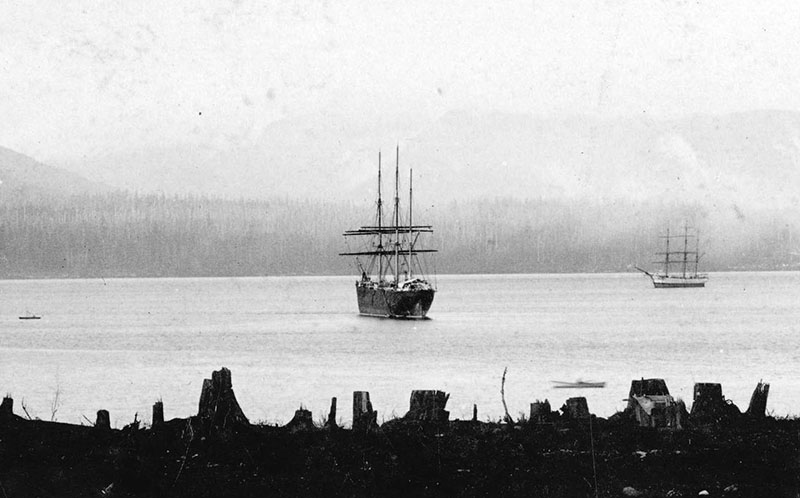 Many people escaped the fire by boarding the Robert Kerr, a ship moored in Burrard Inlet. Here it is at the foot of Richards Street in 1886. Photo by JA Brock, City of Vancouver Archives #Wat P48