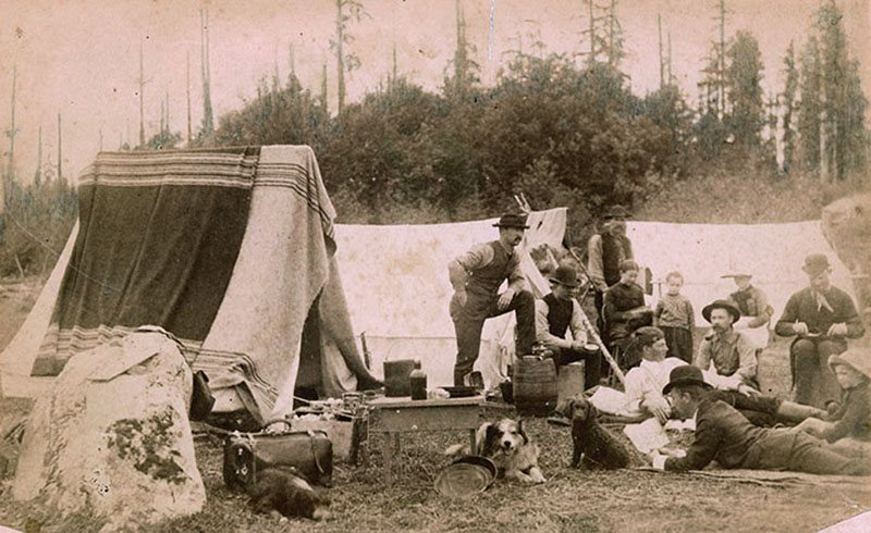 Refugee bivouac near the south end of the Westminster bridge, near today's Main Street and Terminal Avenue, 14 June 1886. City of Vancouver Archives #GF P6