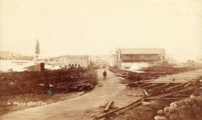 Cordova and Water Streets, four weeks after the fire, Photo by JA Brock, City of Vancouver Archives #Str P129