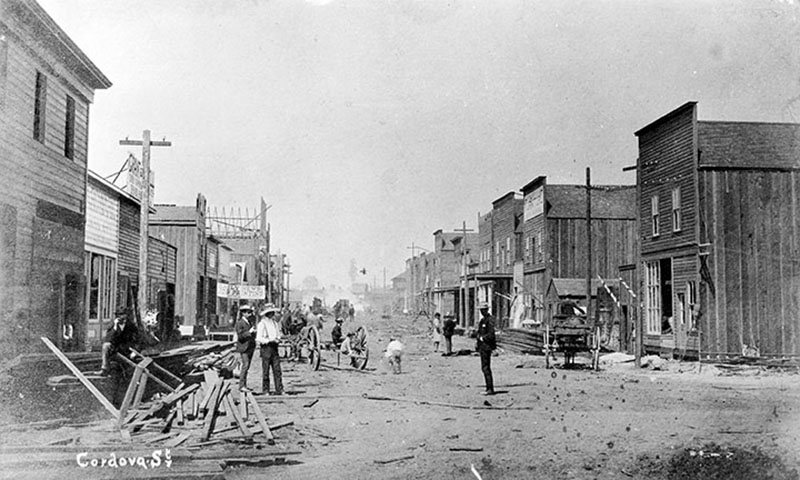 Cordova Street looking west from Carrall, five weeks after the fire. City of Vancouver Archives #Str P7.1