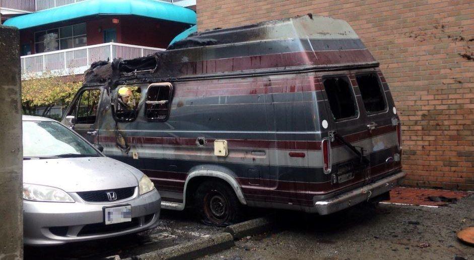 Camper van destroyed in Yaletown vehicle fire