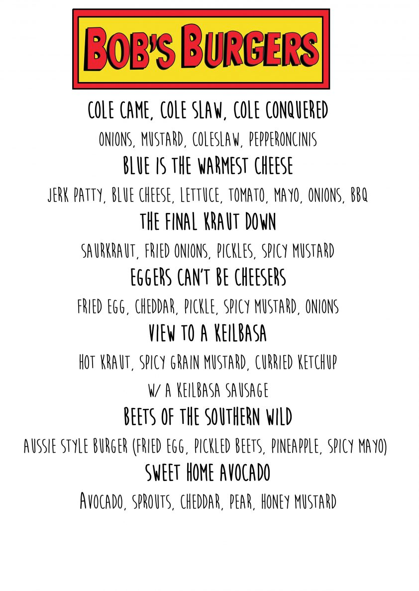 Working menu for What'sUp? HotDog!'s Halloween event.