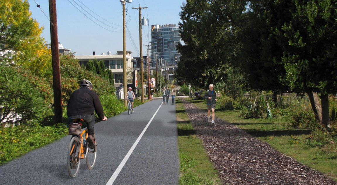 A render of the temporary design for the arbutus greenway along cypress street in kitsilano city of vancouver