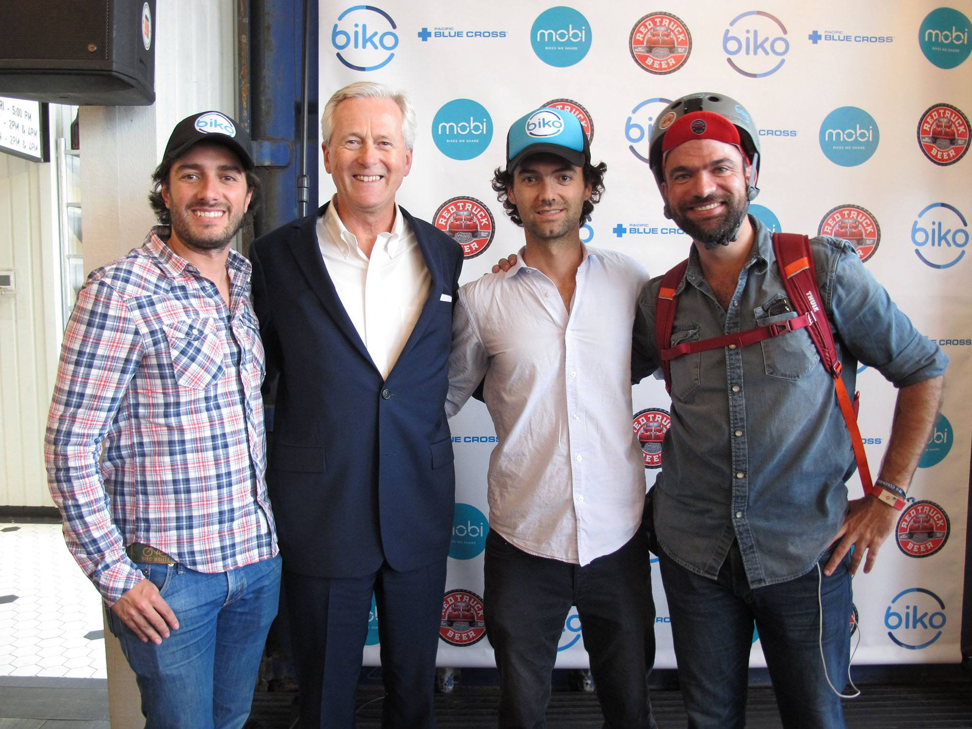 Left to right, Biko app co-founder Enrique Cuellar, Pacific Blue Cross CEO Jan K. Grude, and Biko app co-founders Emilio Pombo and Tomas Bleier (Biko/Pacific Blue Cross)