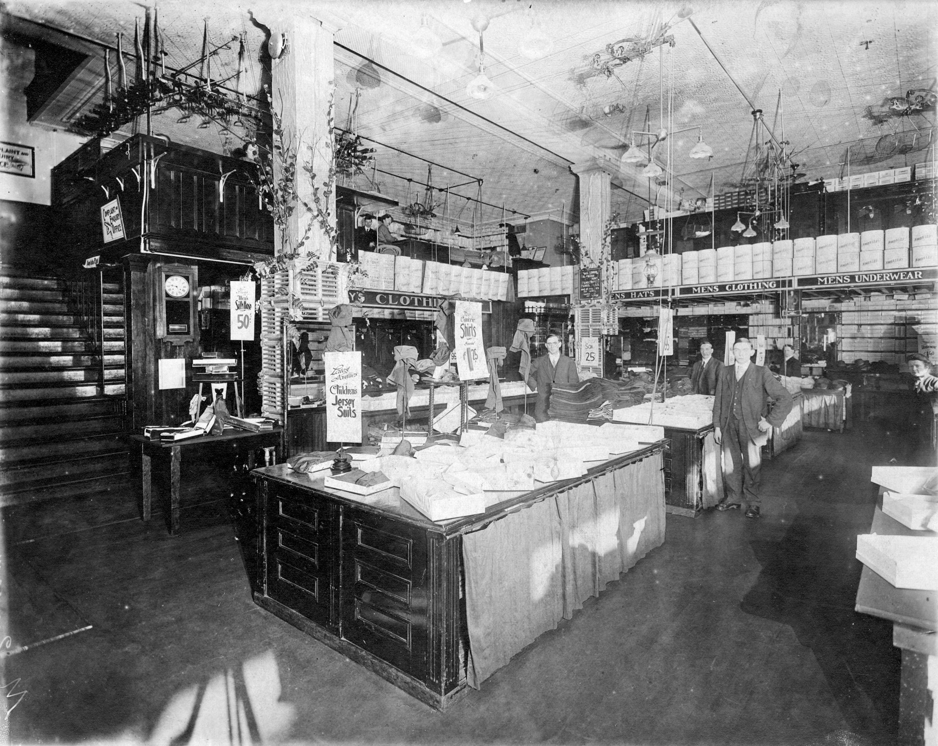 Inside the Woodward's mens' clothing department in 1905 (Woodward's Stores Limited)