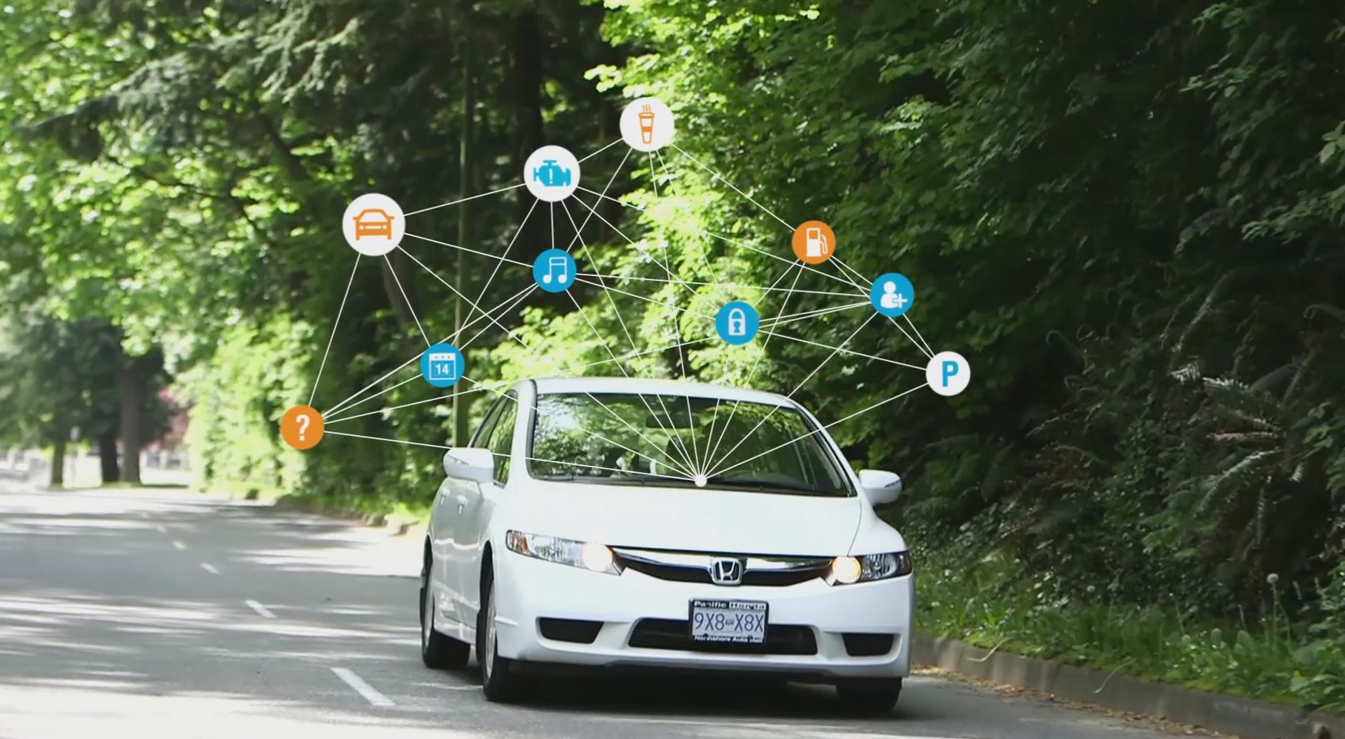 Mojio connected car driving web of icons
