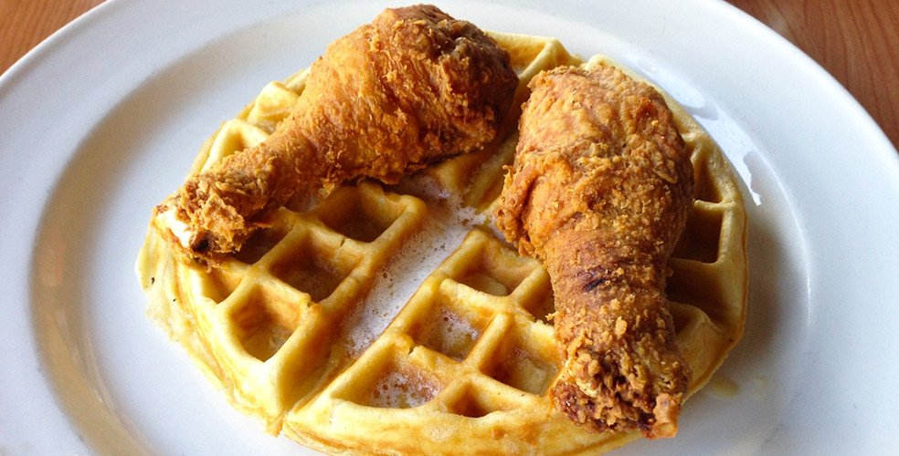 Chicken and waffles stock