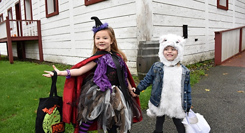 Partygoers at halloween hoot 2015 fort langley historic site