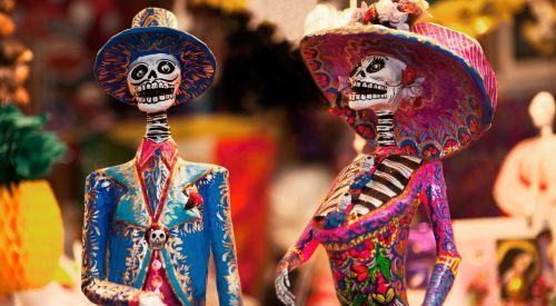 Day of the Dead figurines in the market (Mexico Tourism Board)