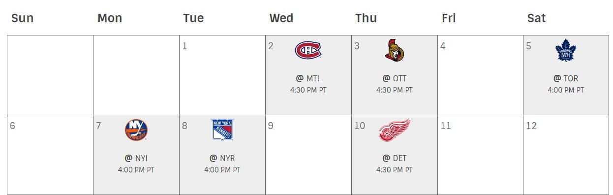 Canucks November Schedule