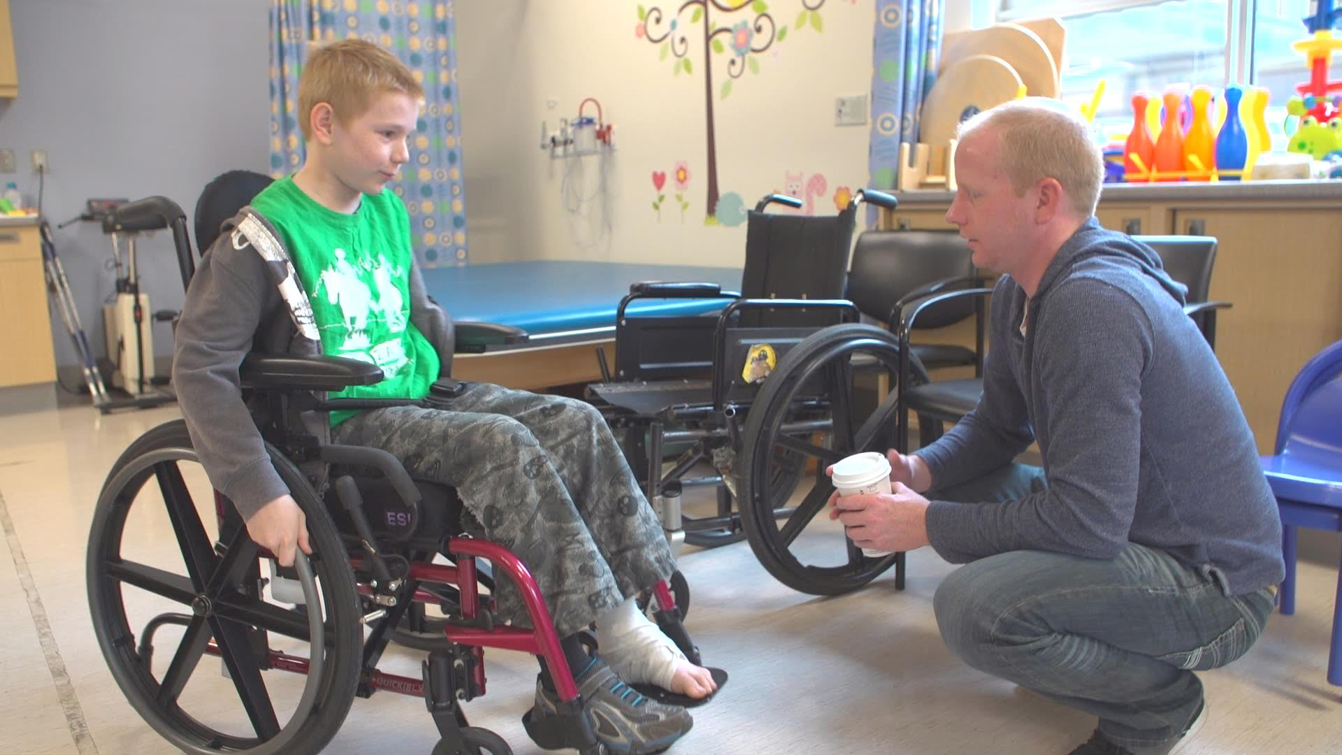 Johannes in his new wheelchair (Variety)