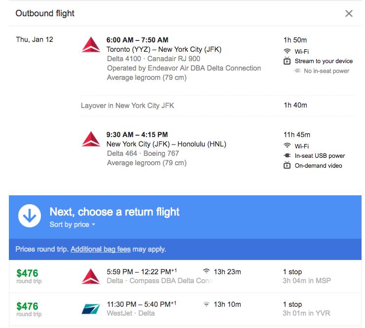 Toronto to Hawaii