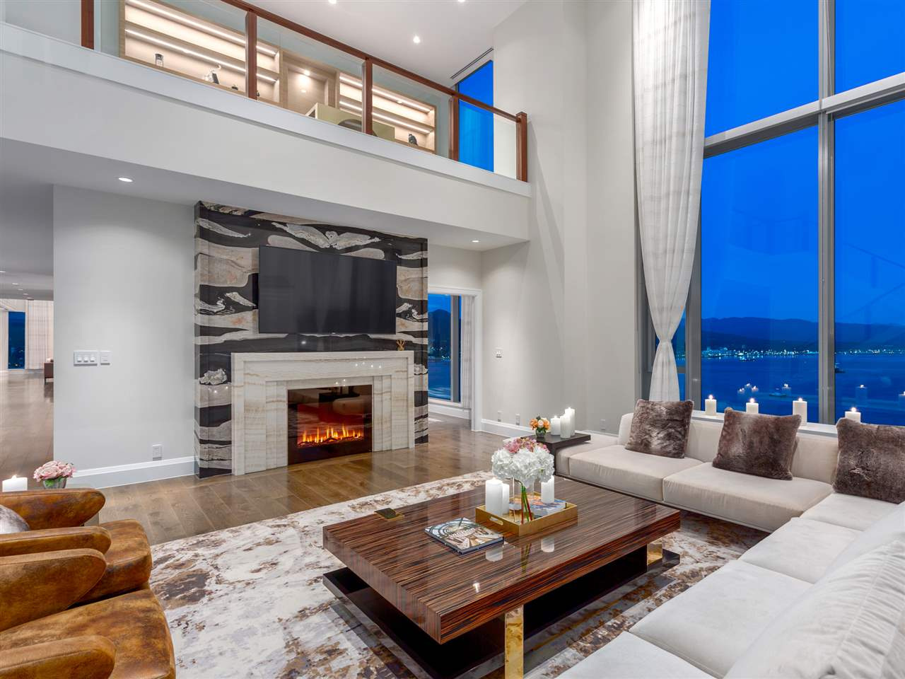 Luxury penthouse at 3101-277 Thurlow Street lounge fireplace (MacDonald Realty)