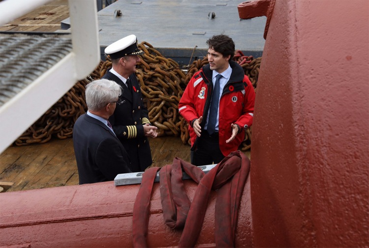 Prime Minister Justin Trudeau aboard the Canadian Coast Guard Ship Sir Wilfred Laurier in Vancouver (Justin Trudeau/Twitter)
