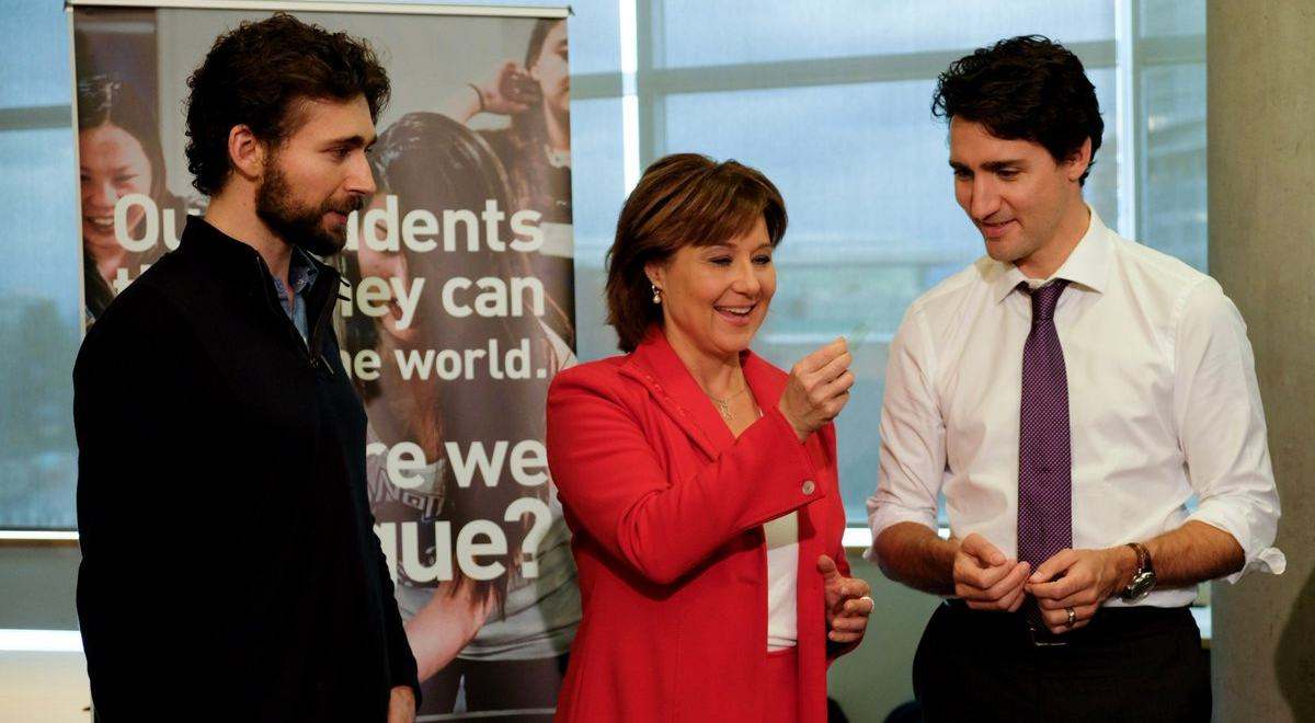 Sfu student ben britton tells christy clark and justin trudeau about fuel cell technology province of bc