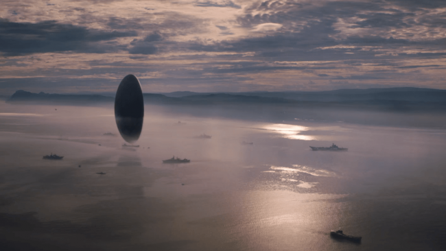The alien spacecraft in Arrival. Image: Paramount Pictures