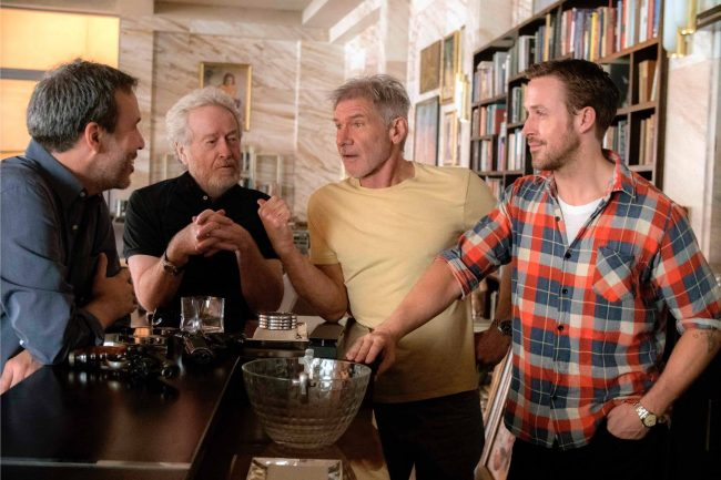 Denis Villeneuve, Ridley Scott, Harrison Ford and Ryan Gosling on the set of Blade Runner 2049. Image: Stephen Vaughn